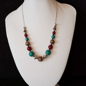 """Vintage Beaded Necklace Aqua Brown Red Beads 17"""""""